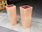 Satin finished tapered custom copper planters (prior to being burnished) - view 3