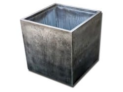 Zinc planter with dark patina finish