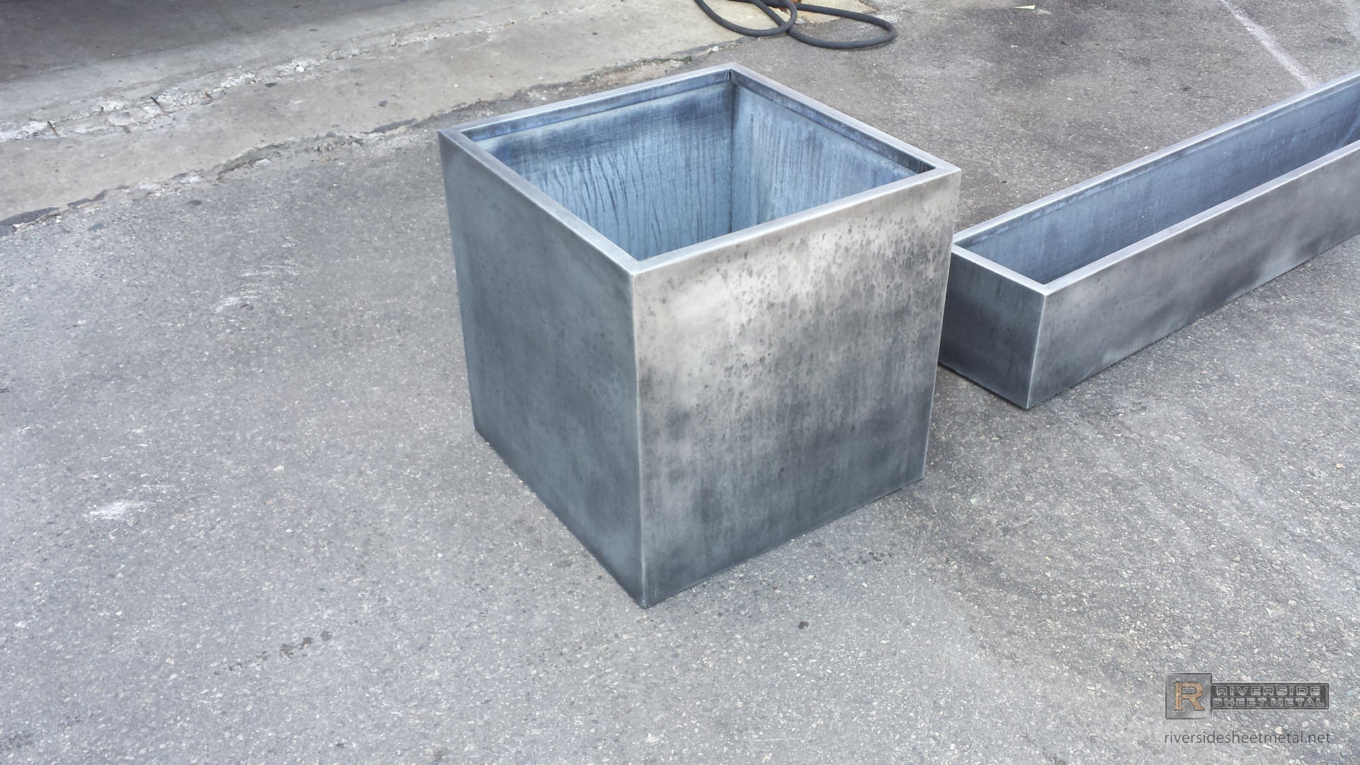 Zinc Planters With Dark Patina Finish Custom Usa