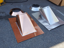 Custom copper roof vent remade, copied from aluminum part