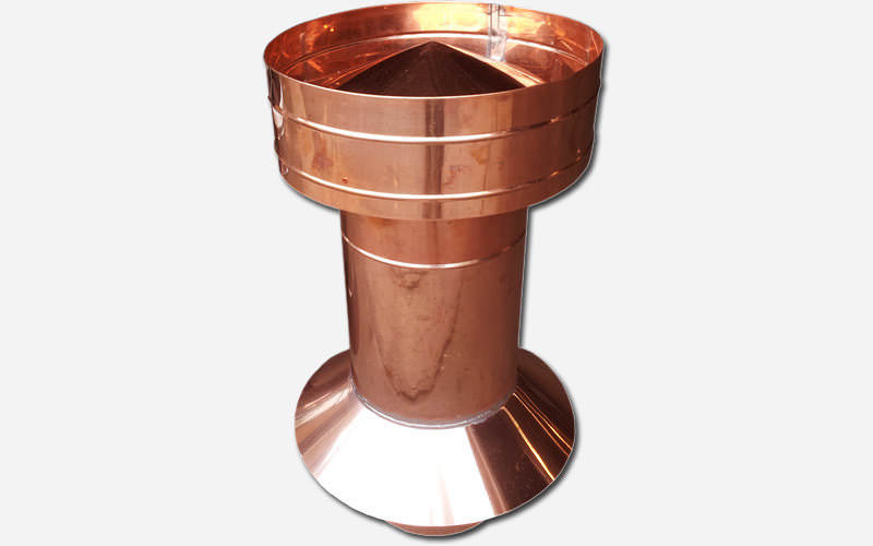 Round copper pipe roof vent with skirt