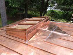 Custom copper skylight installation and fabrication