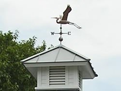 Bird weathervane on aluminum cupola - view 1