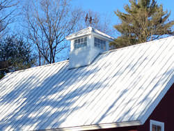 Weathervane with birds on a galvalume cupola and metal roof