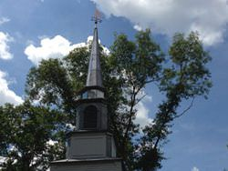 Copper squash player weathervane steeple installation - view 3