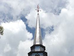 Copper squash player weathervane steeple installation - view 4